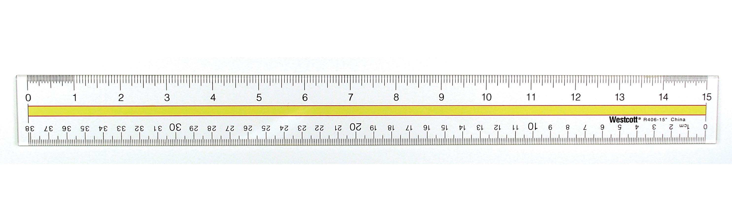 "Westcott Acrylic Data Highlight Reading Ruler With Tinted Guide, 15"" Clear (10580)"
