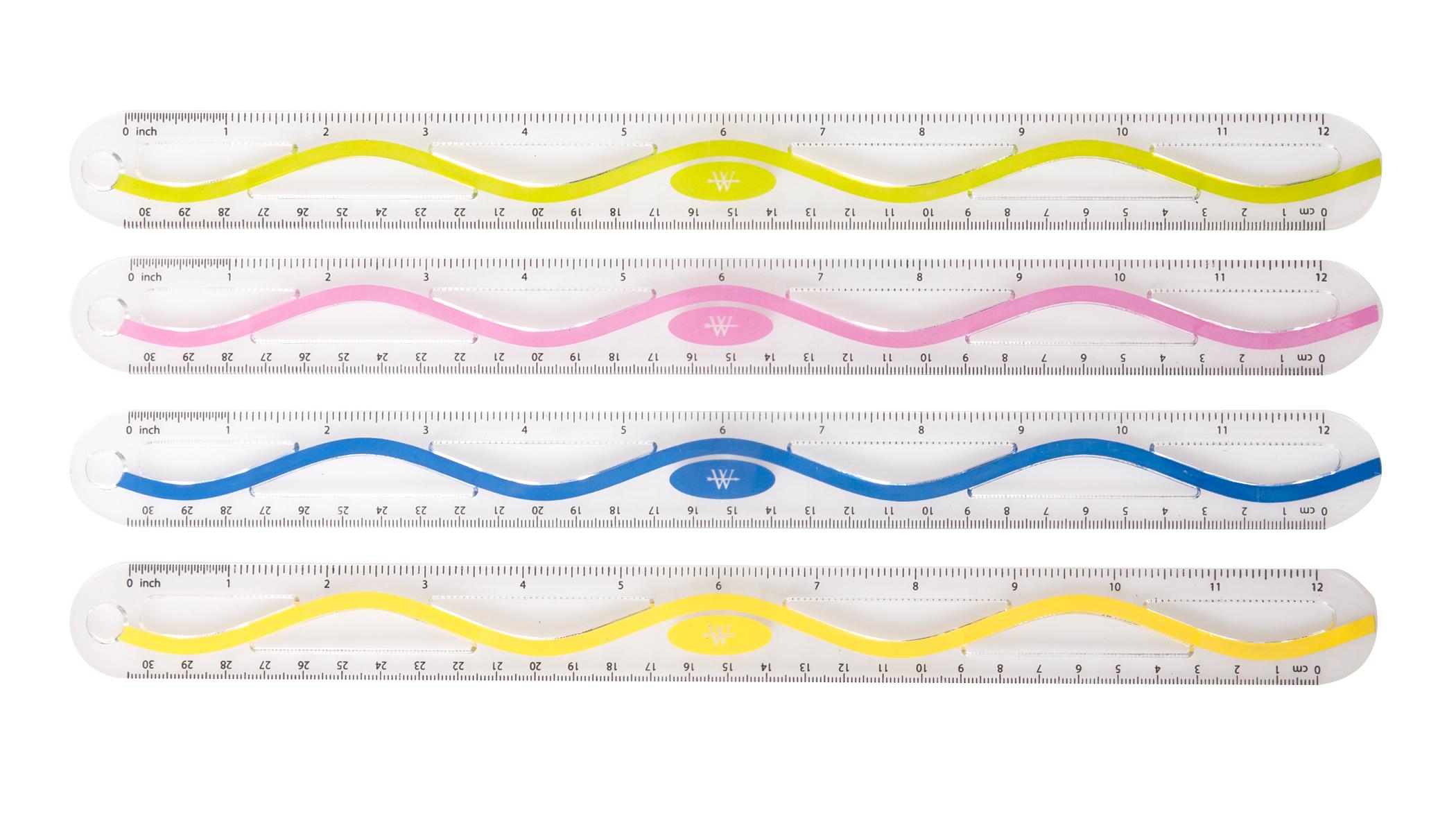 "Westcott 12"" Plastic Wave Ruler, Standard/Metric (15530)"