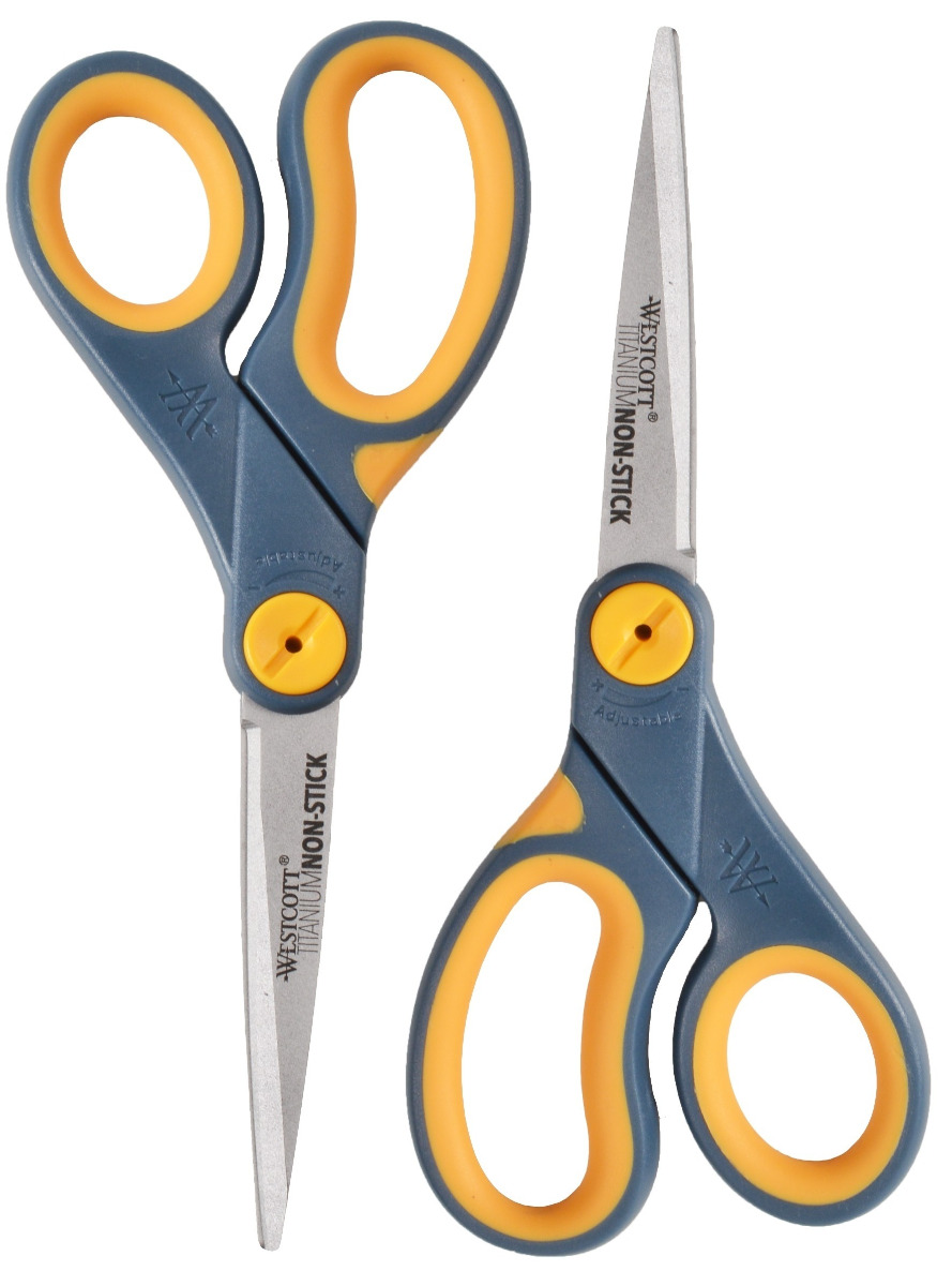"Westcott 8"" Straight Titanium Bonded Non-Stick Scissors with Adjustable Glide Feature, 2pk (16550)"