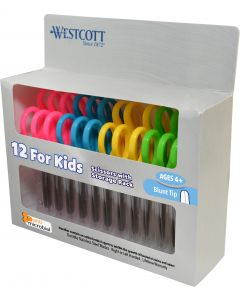 "Westcott 5"" School Pack of Kids Scissors with Anti-Microbial Protection, Blunt, Assorted Colors (Pack of 12) (14871)"