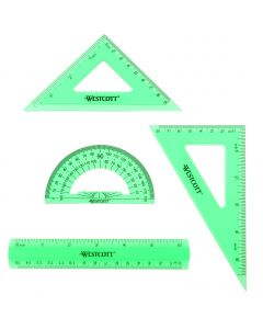 Westcott 4 Piece Flexible Math Tools Set, Assorted Colors, Green/Clear (15992)