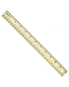 "Westcott 12"" Hole Punched Wood Ruler English and Metric With Metal Edge (10702)"