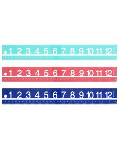 "12"" Large Print Acrylic Ruler, Assorted Colors"