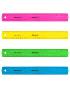 "Westcott 12"" Shatterproof Ruler, Assorted Translucent Colors (14381)"