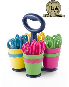 """Westcott School Scissor Caddy with 24 Pointed 5"""" Kids Scissors with Anti-Microbial Protection (14755)"""
