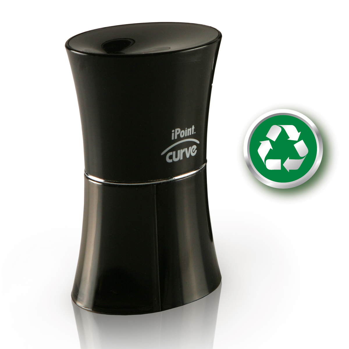 Westcott iPoint KleenEarth Curve Recycled Battery Pencil Sharpener, Black (15217)