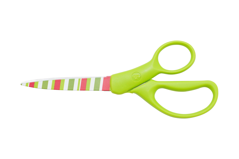 Westcott 8 Inch Straight Holidazed Scissors - Green Handle, Stripes (16177)