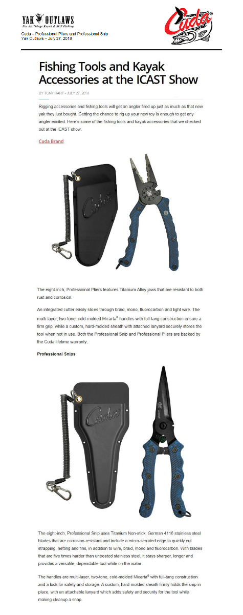 Cuda Professional Pliers and Professional Snip - Featured in Yak Outlaws, July 2018