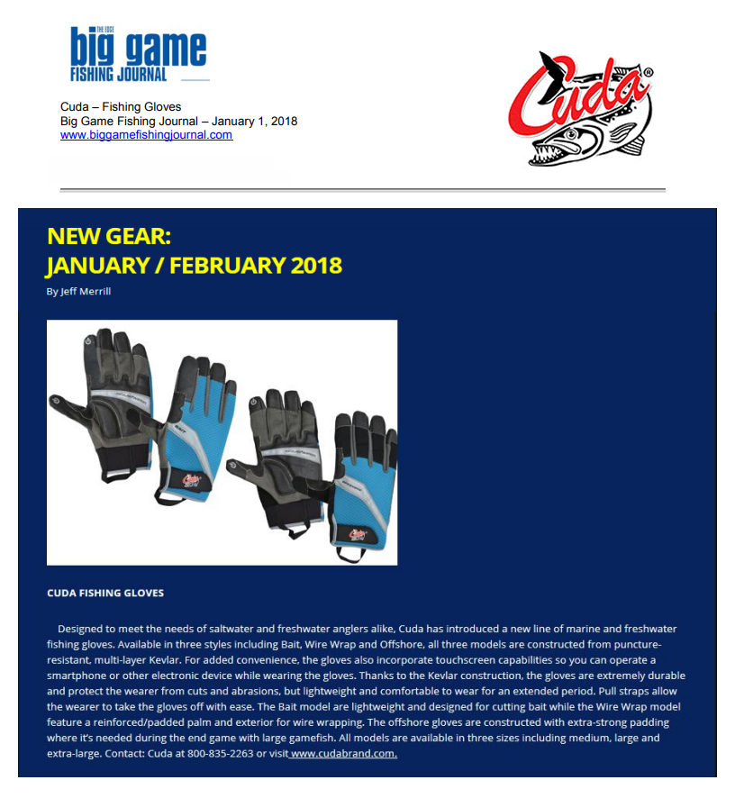 Cuda Fishing Gloves - Featured in Big Game Fishing Journal January 1, 2018