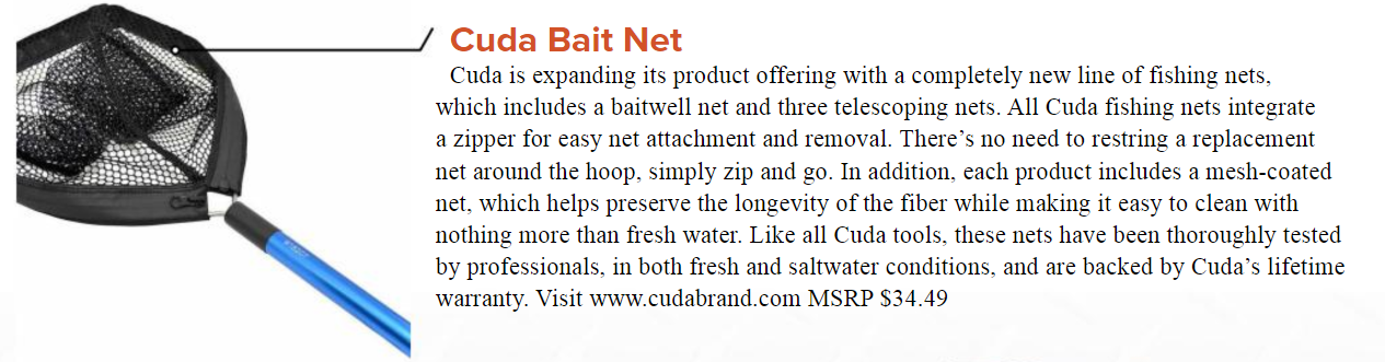 Cuda Bait Net - Featured in the April issue of Great Days Outdoors, April 2018