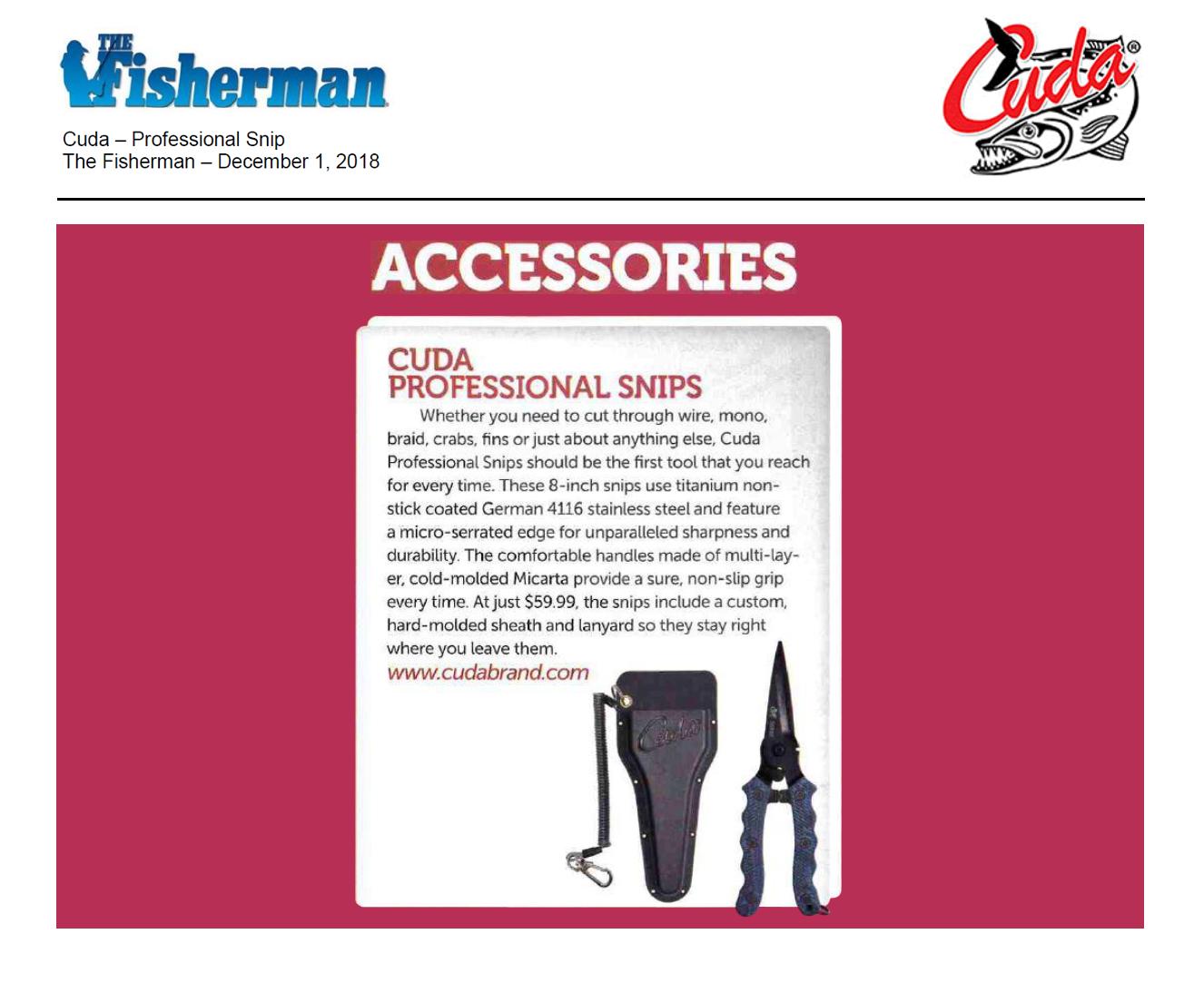 Cuda Professional Snips - Featured in Fisherman Dec 1, 2018