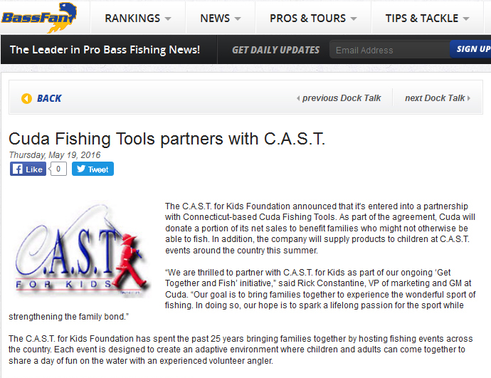 Cuda Fishing Tools partners with C.A.S.T.