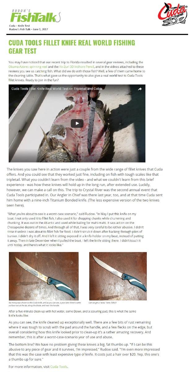 Cuda Knife Test - featured in Rudow's Fish Talk june 1, 2017