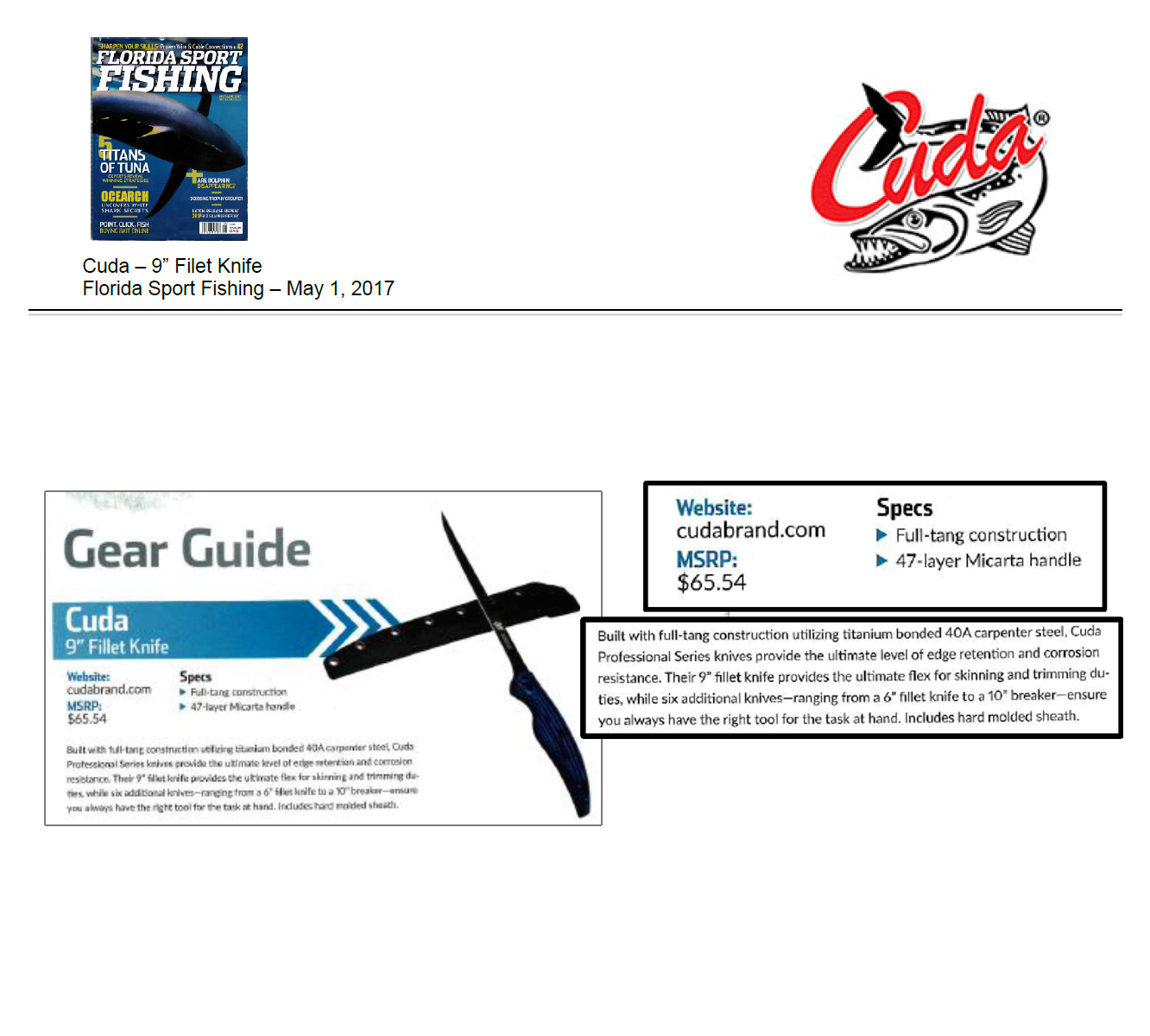 Gear Guide - Featured in Florida Sport Fishing – May 1, 2017