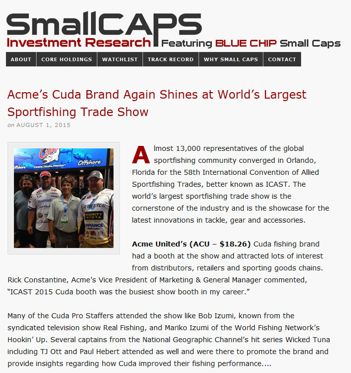Acme's Cuda Brand Again Shines at World's Largest Sportfishing Trade Show