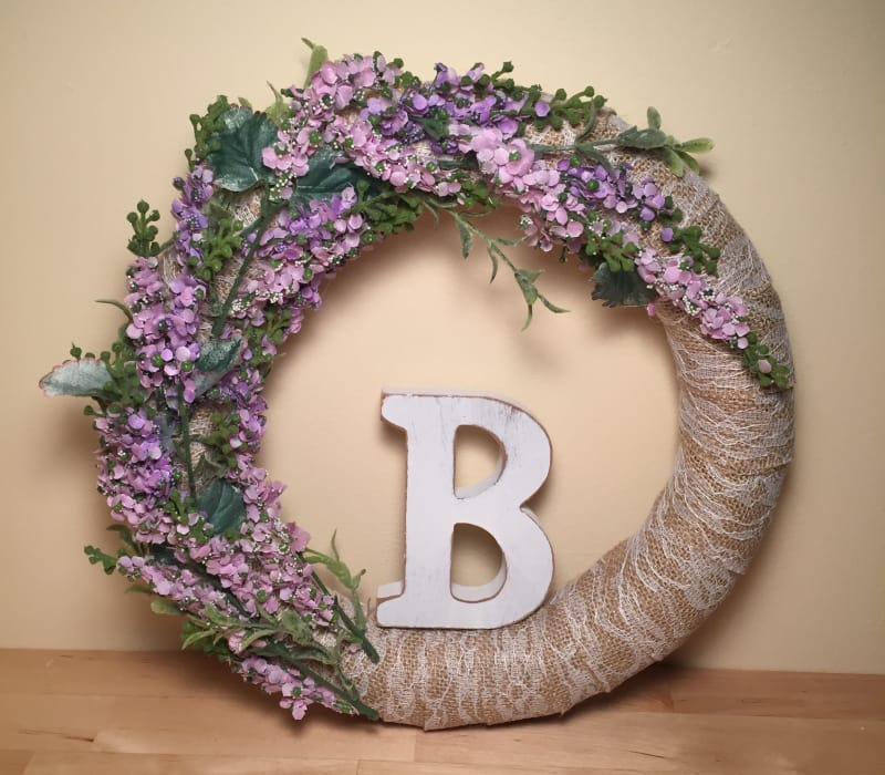 Shabby Chic Initial Wreath